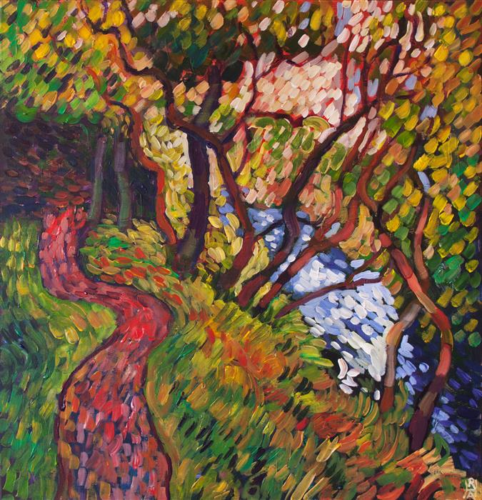 Original art for sale at UGallery.com | Woodland with Stream by Robert Hofherr | $1,300 | acrylic painting | 24' h x 24' w | ..\art\acrylic-painting-Woodland-with-Stream