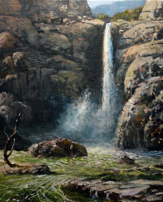Original art for sale at UGallery.com | Wonderfalls by Kent Sullivan | $675 | oil painting | 10' h x 8' w | ..\art\oil-painting-Wonderfalls