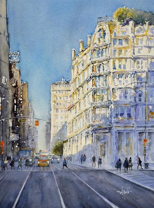 Original art for sale at UGallery.com | New York Corner by Judy Mudd | $750 | watercolor painting | 14.5' h x 11' w | ..\art\watercolor-painting-New-York-Corner