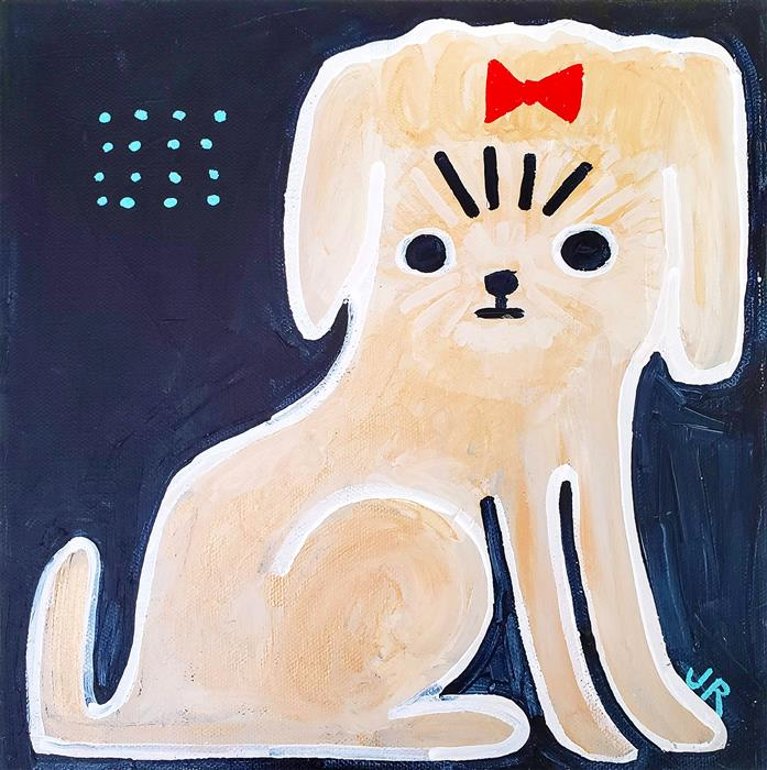 Original art for sale at UGallery.com | Girl Dog by Jessica JH Roller | $300 | acrylic painting | 10' h x 10' w | ..\art\acrylic-painting-Girl-Dog