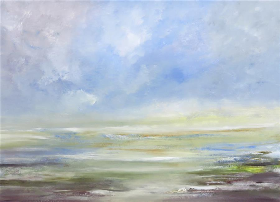 Original art for sale at UGallery.com | By the Beach by Jenn Williamson | $875 | acrylic painting | 22' h x 30' w | ..\art\acrylic-painting-By-the-Beach