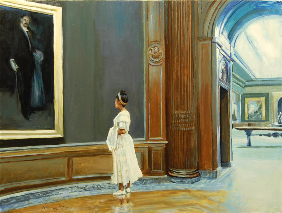 Original art for sale at UGallery.com   Admiring Whistler's Arrangement in Black and Gold by Onelio Marrero   $1,025   oil painting   18' h x 24' w   ..\art\oil-painting-Admiring-Whistler-s-Arrangement-in-Black-and-Gold