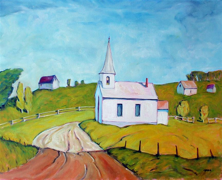 Original art for sale at UGallery.com | The White Church, Rumford Center by Doug Cosbie | $475 | oil painting | 16' h x 20' w | ..\art\oil-painting-The-White-Church-Rumford-Center