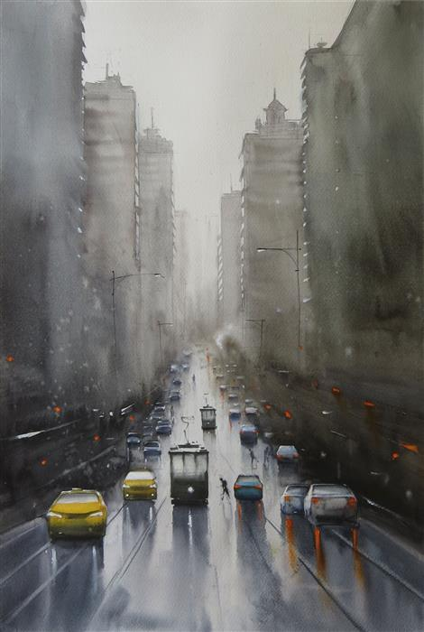 Original art for sale at UGallery.com | Trolleys in the Mist by Swarup Dandapat | $750 | watercolor painting | 22' h x 15' w | ..\art\watercolor-painting-Trolleys-in-the-Mist