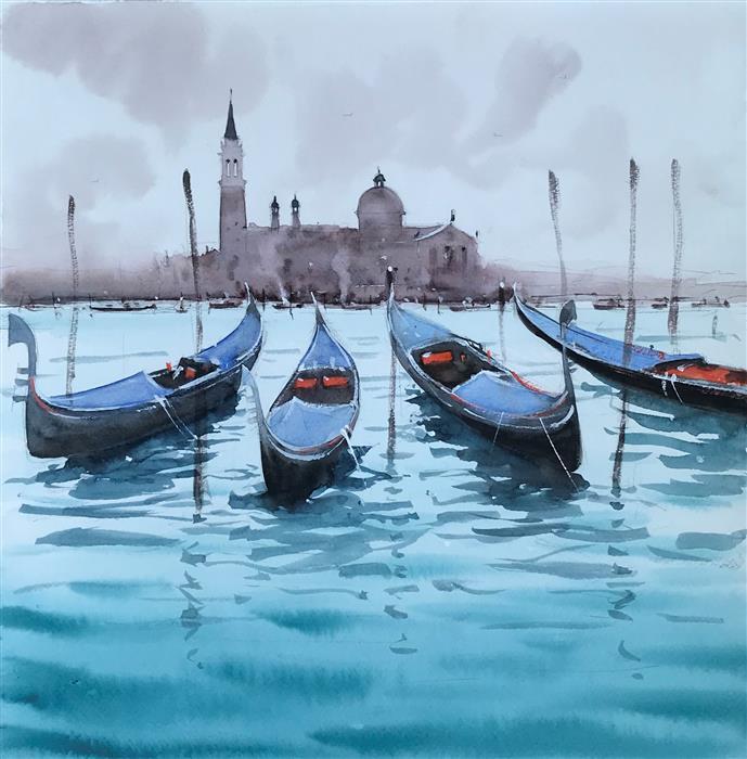 Original art for sale at UGallery.com | Blue Gondolas and Brown Sky by Swarup Dandapat | $575 | watercolor painting | 14.2' h x 14.2' w | ..\art\watercolor-painting-Blue-Gondolas-and-Brown-Sky