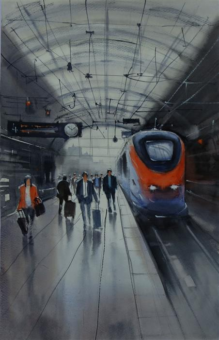 Original art for sale at UGallery.com | Train Arriving at Busy Platform by Swarup Dandapat | $625 | watercolor painting | 18.2' h x 11' w | ..\art\watercolor-painting-Train-Arriving-at-Busy-Platform