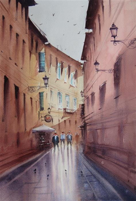 Original art for sale at UGallery.com | The Sunlit Blind Alley by Swarup Dandapat | $550 | watercolor painting | 15.7' h x 11.8' w | ..\art\watercolor-painting-The-Sunlit-Blind-Alley