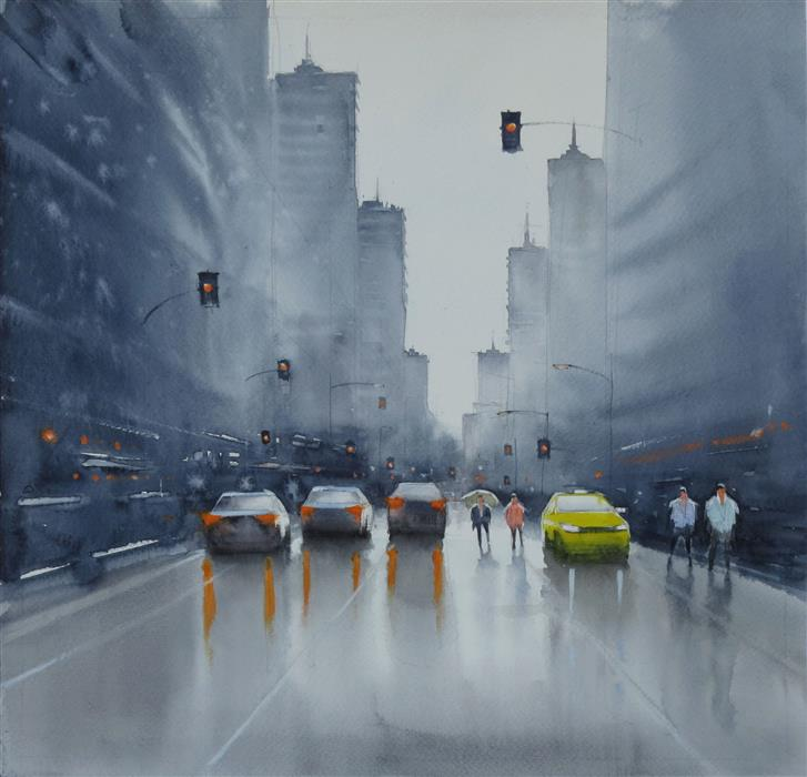Original art for sale at UGallery.com | Rain on the Asphalt by Swarup Dandapat | $575 | watercolor painting | 14.2' h x 14.2' w | ..\art\watercolor-painting-Rain-on-the-Asphalt