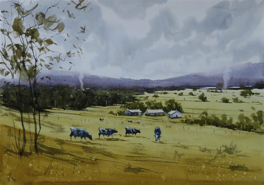 Original art for sale at UGallery.com | The Green Meadow II by Swarup Kumar Dandapat | $550 | watercolor painting | 11.7' h x 16.6' w | ..\art\watercolor-painting-The-Green-Meadow-II
