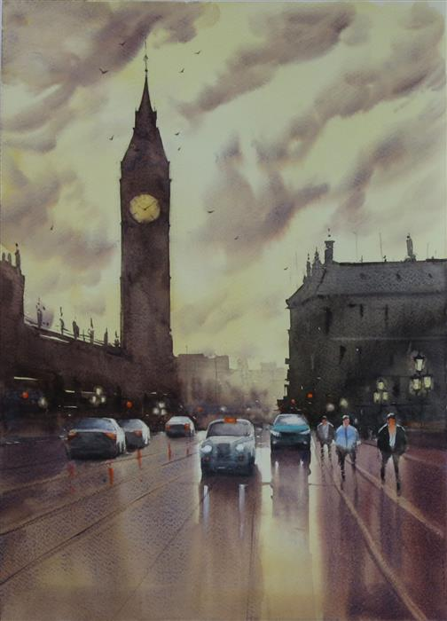 Original art for sale at UGallery.com | Big Ben from Westminster Bridge by Swarup Dandapat | $550 | watercolor painting | 16.6' h x 11.7' w | ..\art\watercolor-painting-Big-Ben-from-Westminster-Bridge