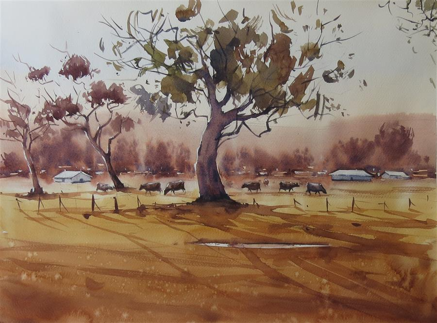 Original art for sale at UGallery.com | Road to the Forest by Swarup Dandapat | $650 | watercolor painting | 13.7' h x 18.9' w | ..\art\watercolor-painting-Road-to-the-Forest