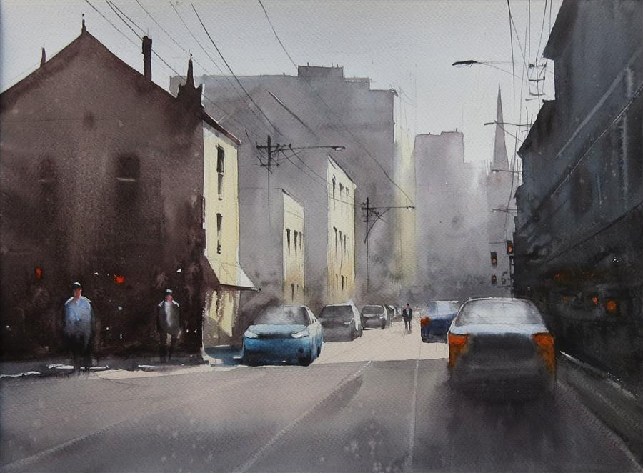 Original art for sale at UGallery.com | Sunshine and the Shadows by Swarup Dandapat | $550 | watercolor painting | 11.7' h x 16.6' w | ..\art\watercolor-painting-Sunshine-and-the-Shadows