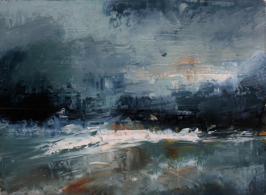 Original art for sale at UGallery.com | Post Rain, Rough Water by Ronda Waiksnis | $750 | oil painting | 22' h x 30' w | ..\art\oil-painting-Post-Rain-Rough-Water