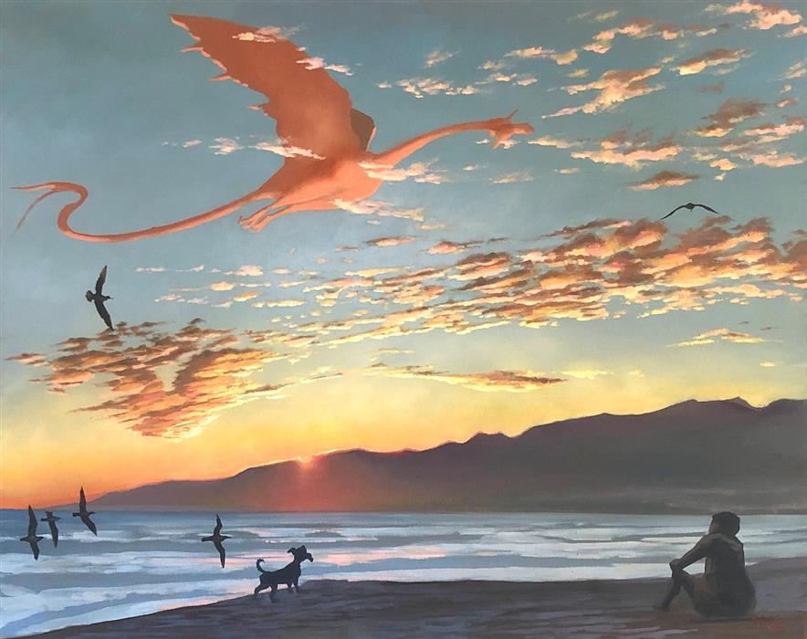 Original art for sale at UGallery.com | The Dragontamer by Jesse Aldana | $1,375 | oil painting | 24' h x 30' w | ..\art\oil-painting-The-Dragontamer