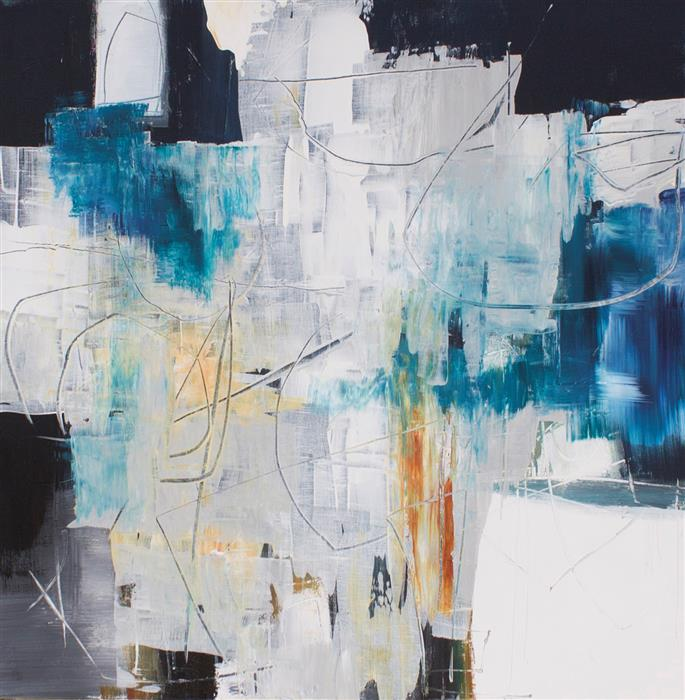 Original art for sale at UGallery.com | Blue Tango by Jane Robinson | $2,150 | acrylic painting | 36' h x 36' w | ..\art\acrylic-painting-Blue-Tango