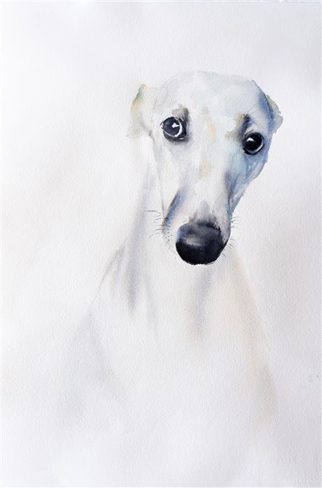 Original art for sale at UGallery.com | Greyhound I by Yuriy Kraft | $600 | watercolor painting | 22.4' h x 14.9' w | ..\art\watercolor-painting-Greyhound-I