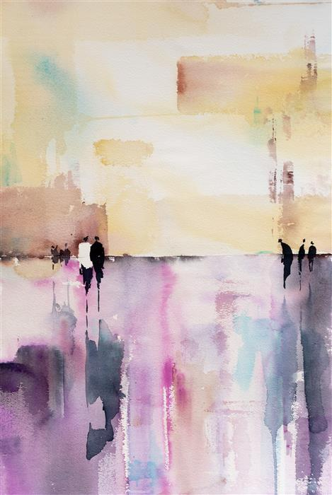 Original art for sale at UGallery.com | Abstract Streetscape XIV by Yuriy Kraft | $500 | watercolor painting | 22.4' h x 14.9' w | ..\art\watercolor-painting-Abstract-Streetscape-XIV