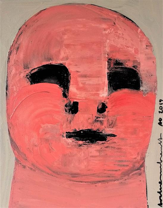 Original art for sale at UGallery.com | Rosy Child by Paulina Archambault | $325 | acrylic painting | 10' h x 8' w | ..\art\acrylic-painting-Rosy-Child