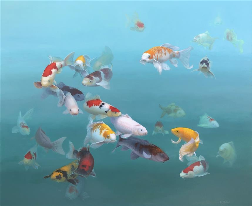 Original art for sale at UGallery.com | Aquarium II by Elizabeth Rickert | $5,200 | oil painting | 48' h x 58.25' w | ..\art\oil-painting-Aquarium-II