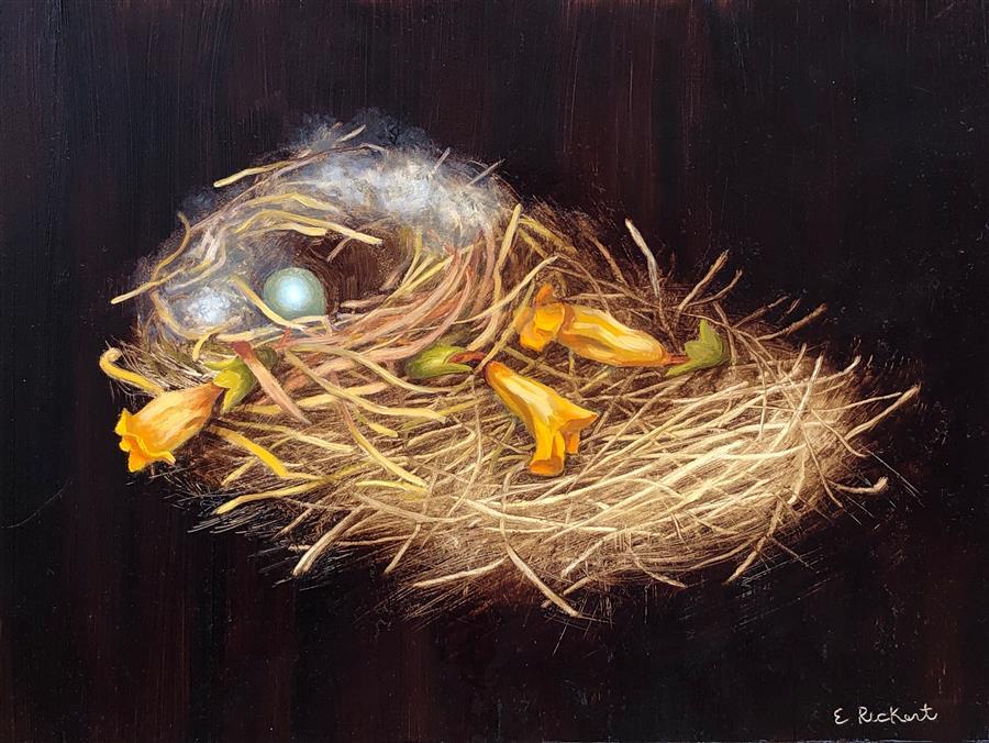Original art for sale at UGallery.com | Wind Effect by Elizabeth Rickert | $475 | oil painting | 9' h x 12' w | ..\art\oil-painting-Wind-Effect