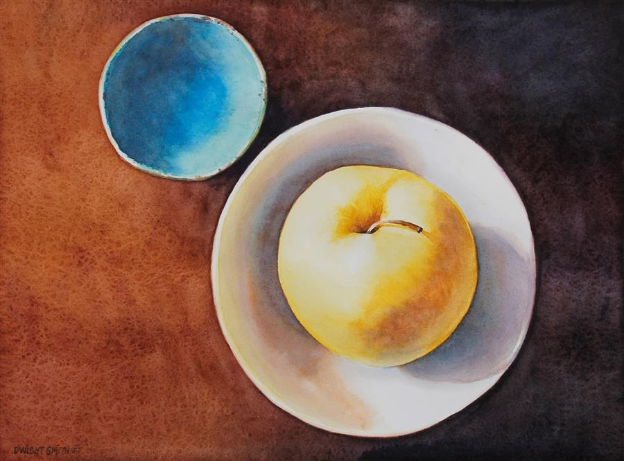 Original art for sale at UGallery.com | Blue Moon Orchard by Dwight Smith | $275 | watercolor painting | 9' h x 12' w | ..\art\watercolor-painting-Blue-Moon-Orchard