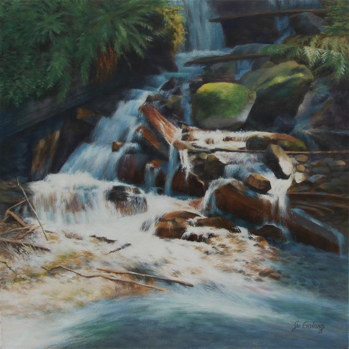 Original art for sale at UGallery.com | Swift Water by Jo Galang | $975 | oil painting | 20' h x 20' w | ..\art\oil-painting-Swift-Water