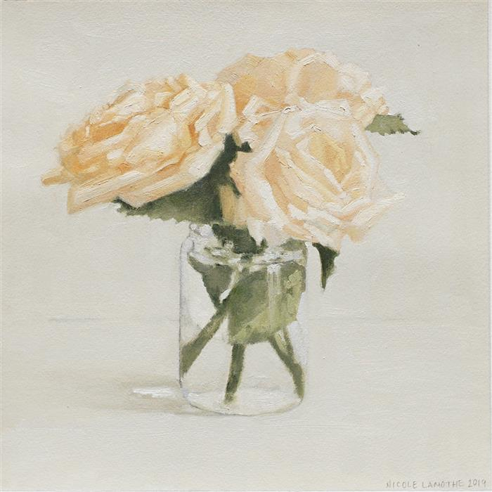 Original art for sale at UGallery.com | Peachy Roses by Nicole Lamothe | $475 | oil painting | 12' h x 12' w | ..\art\oil-painting-Peachy-Roses