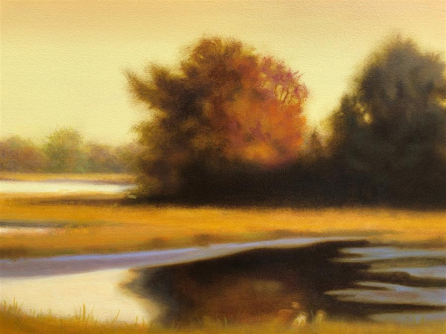 Original art for sale at UGallery.com | Sunset Marsh by Elizabeth Rickert | $1,700 | oil painting | 25' h x 31.2' w | ..\art\oil-painting-Sunset-Marsh