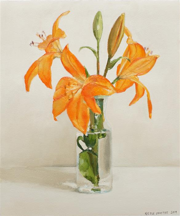 Original art for sale at UGallery.com | Orange Lily by Nicole Lamothe | $500 | oil painting | 14' h x 12' w | ..\art\oil-painting-Orange-Lily