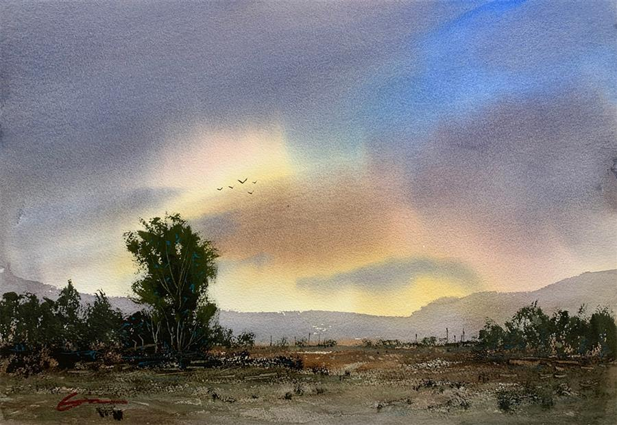Original art for sale at UGallery.com | Sunrise New Mexico by Posey Gaines | $650 | watercolor painting | 14' h x 20' w | ..\art\watercolor-painting-Sunrise-New-Mexico