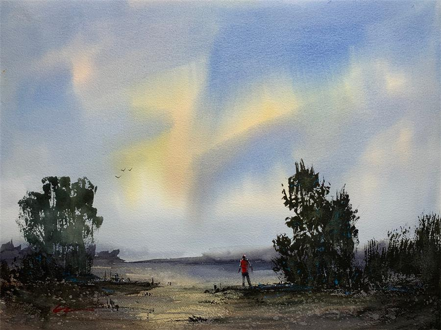 Original art for sale at UGallery.com | Early Morning Meditation by Posey Gaines | $900 | watercolor painting | 18' h x 24' w | ..\art\watercolor-painting-Early-Morning-Meditation
