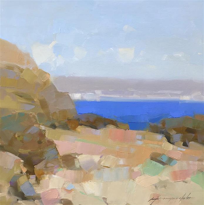 Original art for sale at UGallery.com | Coastal Cliffs by Vahe Yeremyan | $400 | oil painting | 14' h x 14' w | ..\art\oil-painting-Coastal-Cliffs