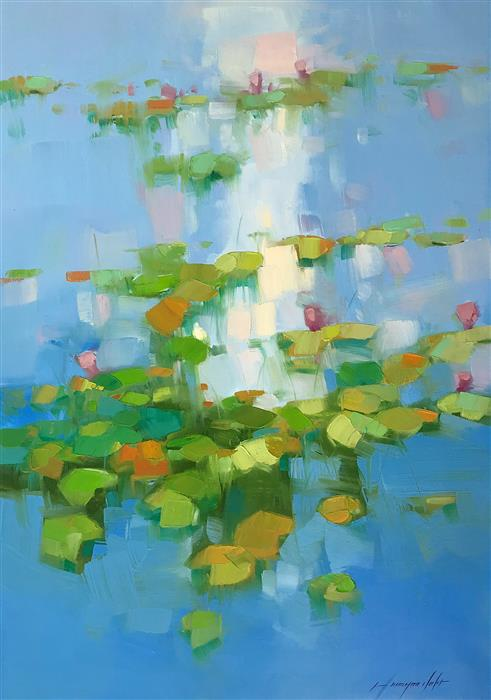 Original art for sale at UGallery.com | Lilies Pond by Vahe Yeremyan | $1,175 | oil painting | 30' h x 21' w | ..\art\oil-painting-Lilies-Pond