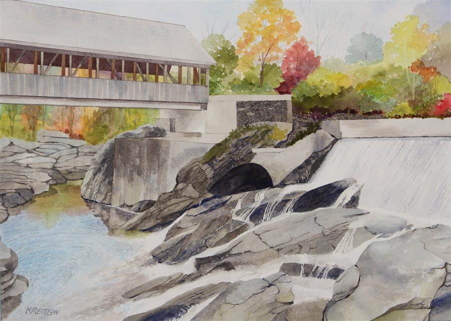 Original art for sale at UGallery.com | Quechee Bridge at Simon Pearce Mill by Bill Kreitlow | $750 | watercolor painting | 16.25' h x 23.25' w | ..\art\watercolor-painting-Quechee-Bridge-at-Simon-Pearce-Mill