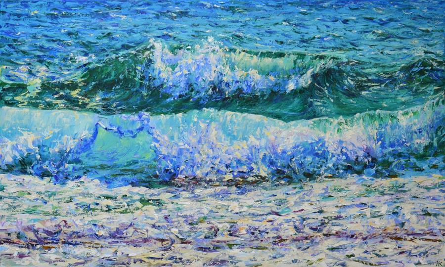 Original art for sale at UGallery.com | The Waves by Iryna Kastsova | $2,150 | oil painting | 24' h x 39' w | ..\art\oil-painting-The-Waves