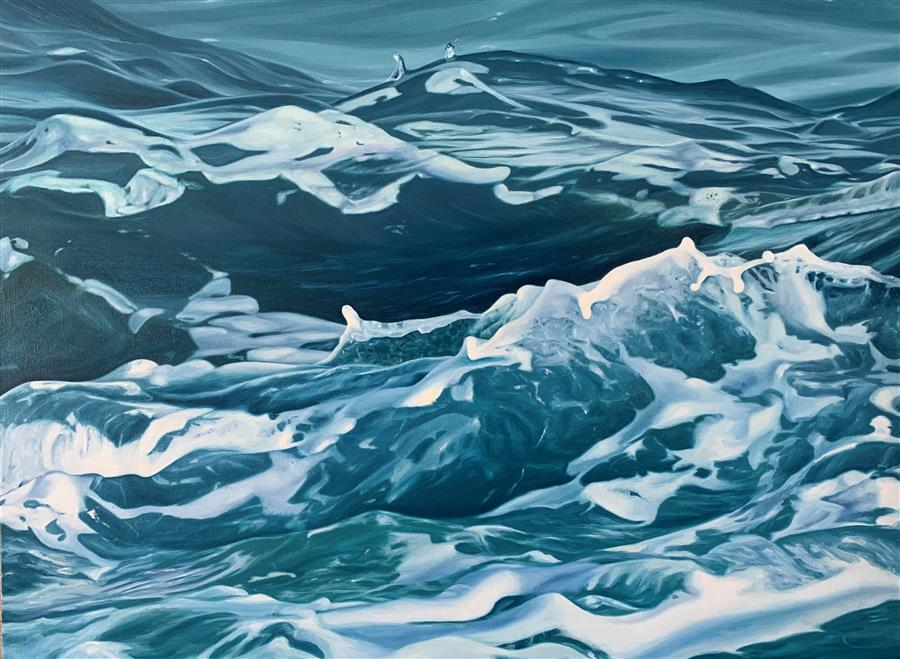 Original art for sale at UGallery.com | Rough Water by Debbie Daniels | $3,975 | oil painting | 30' h x 40' w | ..\art\oil-painting-Rough-Water