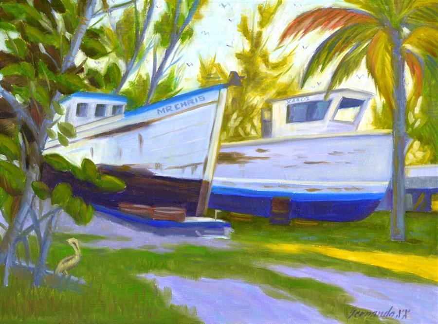 Original art for sale at UGallery.com | Mr. Chris by Fernando Soler | $500 | oil painting | 12' h x 16' w | ..\art\oil-painting-Mr-Chris