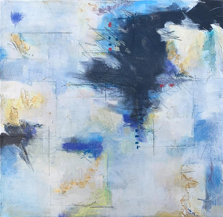 Original art for sale at UGallery.com | Blue Song I by Charles Kacin | $1,550 | mixed media artwork | 24' h x 24' w | ..\art\mixed-media-artwork-Blue-Song-I