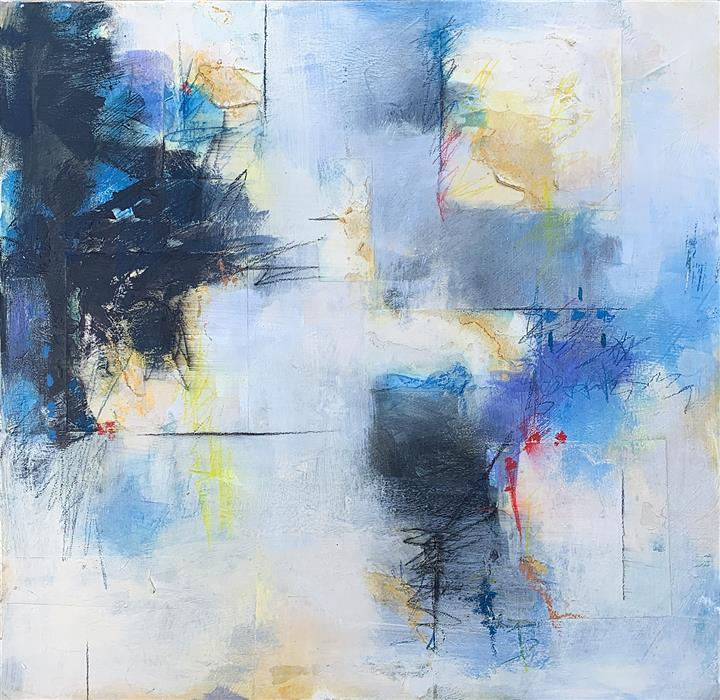 Original art for sale at UGallery.com | Blue Song II by Charles Kacin | $1,550 | mixed media artwork | 24' h x 24' w | ..\art\mixed-media-artwork-Blue-Song-II
