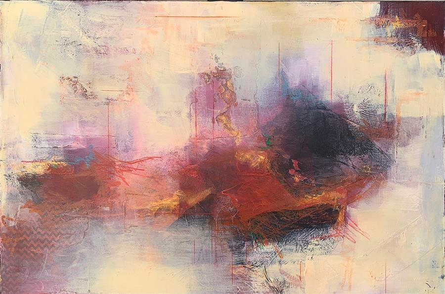 Original art for sale at UGallery.com   Red Ochre Marinade by Charles Kacin   $2,300   mixed media artwork   24' h x 36' w   ..\art\mixed-media-artwork-Red-Ochre-Marinade