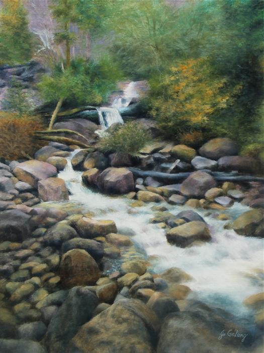 Original art for sale at UGallery.com | Raging Waters by Jo Galang | $975 | oil painting | 24' h x 18' w | ..\art\oil-painting-Raging-Waters
