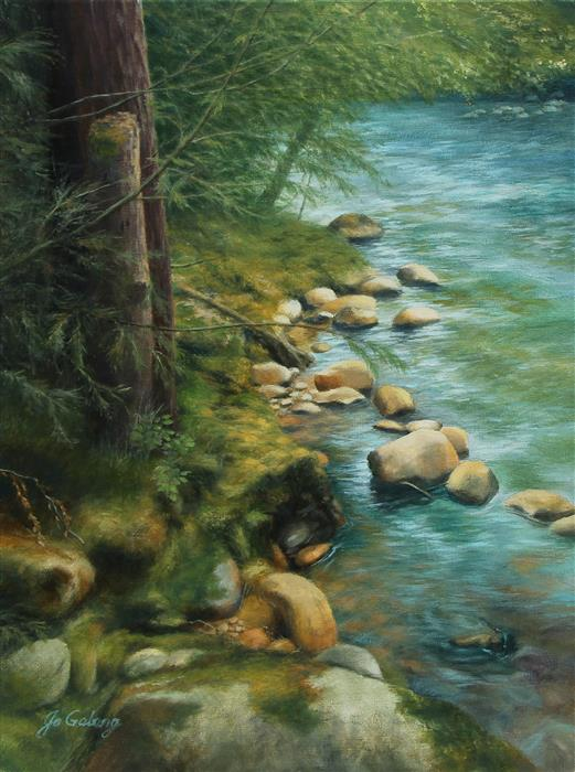 Original art for sale at UGallery.com | Emerald Splendor by Jo Galang | $975 | oil painting | 24' h x 18' w | ..\art\oil-painting-Emerald-Splendor
