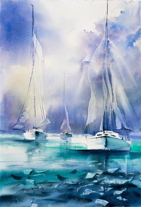 Original art for sale at UGallery.com | Sailing VIII by Yuriy Kraft | $550 | watercolor painting | 22.4' h x 15.7' w | ..\art\watercolor-painting-Sailing-VIII