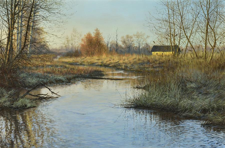 Original art for sale at UGallery.com | Waiting for the Spring by Dariusz Choinski | $1,700 | oil painting | 16' h x 24' w | ..\art\oil-painting-Waiting-for-the-Spring