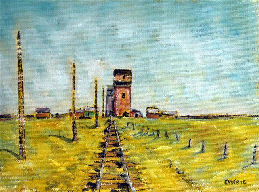 Original art for sale at UGallery.com | Old Grain Elevators, Neidpath, Saskatchewan by Doug Cosbie | $250 | oil painting | 6' h x 9' w | ..\art\oil-painting-Old-Grain-Elevators-Neidpath-Saskatchewan