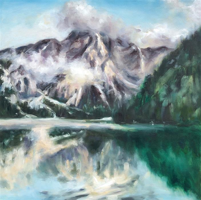 Original art for sale at UGallery.com | The Peak by Tiffany Blaise | $900 | oil painting | 24' h x 24' w | ..\art\oil-painting-The-Peak