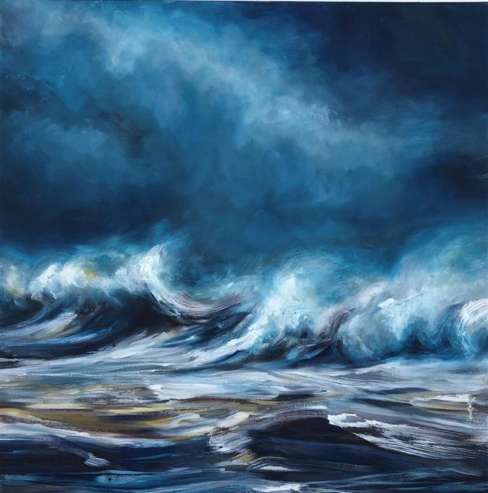Original art for sale at UGallery.com | Wave Song by Tiffany Blaise | $900 | oil painting | 24' h x 24' w | ..\art\oil-painting-Wave-Song