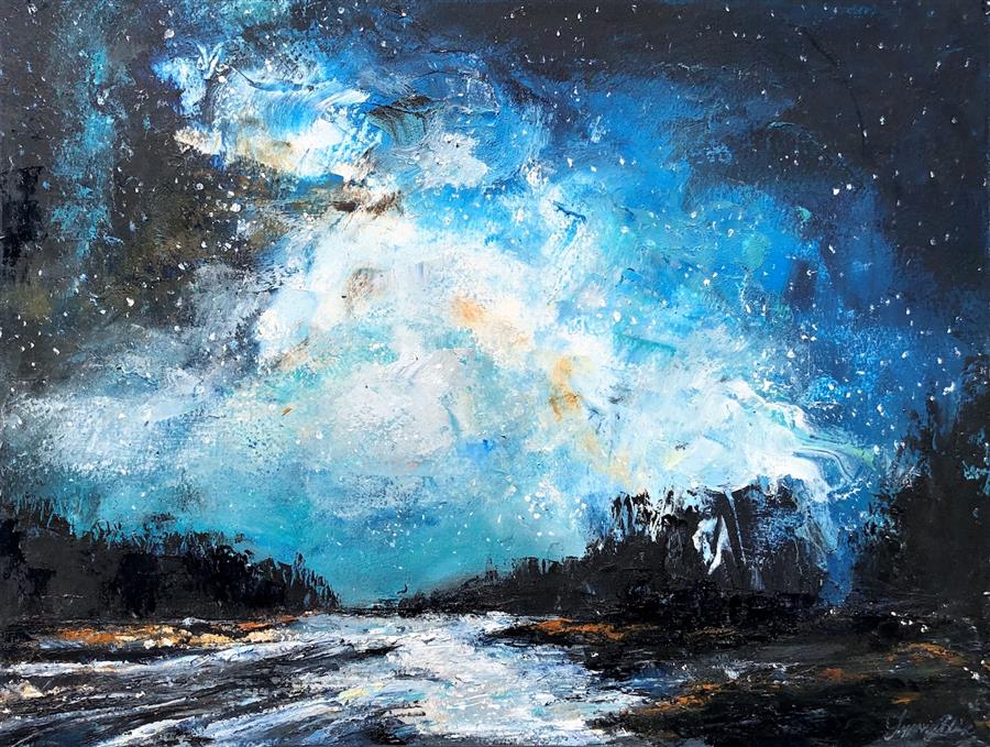 Original art for sale at UGallery.com | Moonlight Lookout by Tiffany Blaise | $375 | mixed media artwork | 12' h x 16' w | ..\art\mixed-media-artwork-Moonlight-Lookout