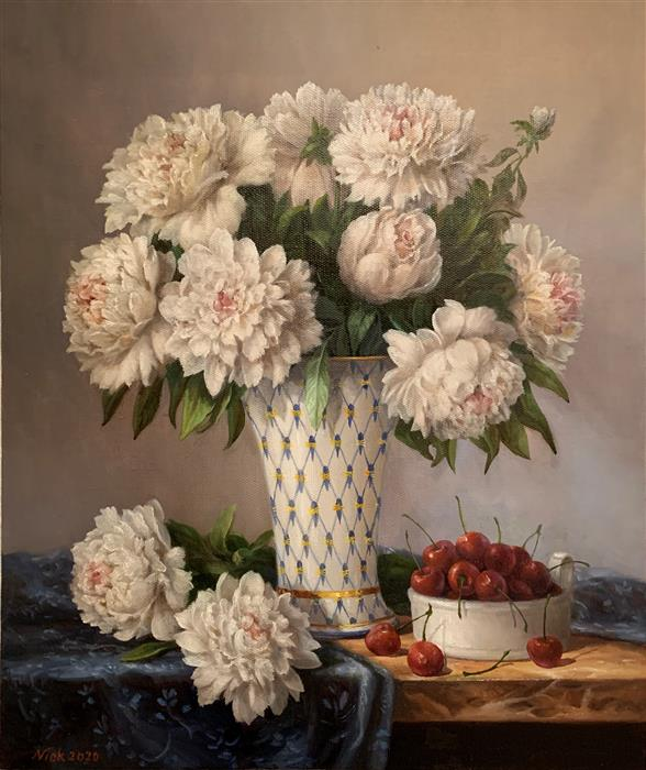 Original art for sale at UGallery.com | White Peonies by Nikolay Rizhankov | $2,150 | oil painting | 24' h x 20' w | ..\art\oil-painting-White-Peonies