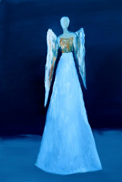 Original art for sale at UGallery.com | Blue Angel by Naoko Paluszak | $1,650 | oil painting | 36' h x 24' w | ..\art\oil-painting-Blue-Angel